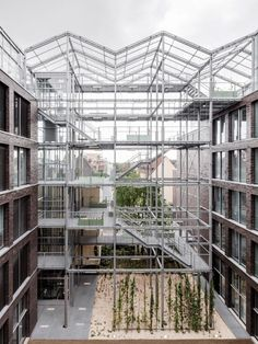 Completed in 2019 in Oberhausen, Germany. Images by hiepler, brunier,. The office building in the center of Oberhausen combines the diverse functions of a public administrative building and rooftop garden in a new way,. Bruther Architecture, Contemporary Architecture, Sustainable Architecture, Brick Building, Building A House, Brick Facade, Vertical Gardens, Gallery, Office Buildings