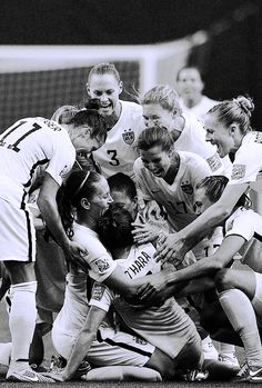 USWNT celebrating the win over Germany and Kelley O'Hara's first international goal