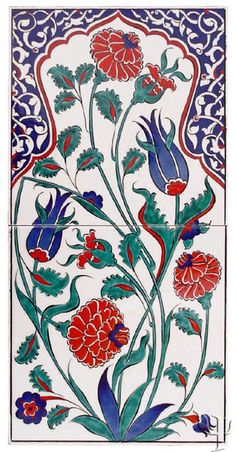 Iznik Tile Panel Turkish Design, Turkish Art, Turkish Tiles, Portuguese Tiles, Moroccan Tiles, Moroccan Decor, Pottery Patterns, Tile Patterns, Arabesque