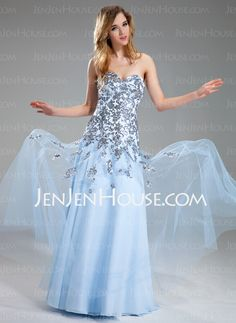 A-Line/Princess Sweetheart Floor-Length Satin Tulle Prom Dress With Appliques Sequins (018018822) - JenJenHouse