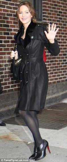Jennifer Lawrence black pantyhose and heels