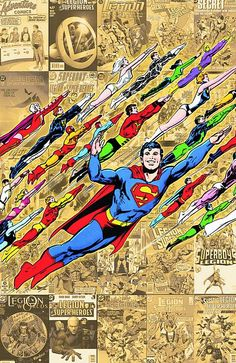 LEGION OF SUPER-HEROES: 1,050 YEARS IN THE FUTURE (by Neal Adams), teenagers, DC Comics, group flying, cover
