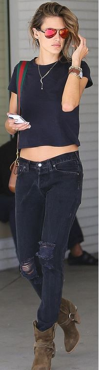 Who made Alessandra Ambrosio's red stripe handbag, black jeans, orange aviator sunglasses, and brown suede boots?