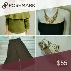 Bundle an outfit! See separate listings to purchase or buy all 4 items for this low price!   Anthropologie Ruffle Top - M  Xhiliration NWT Culottes - S Layered Coin Necklace  GAP Braided Wedge Sandals - 8.5 Anthropologie Other