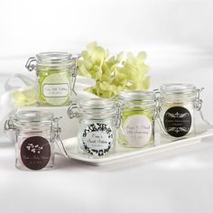 Party Personalized Glass Favor Jars (maybe useful for spices or homegrown herb storage?)