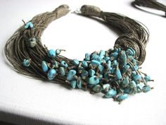 Necklace | GreyHeartOfStone Designs. Linen and turquoise.