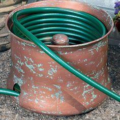 garden hose storage pots Large Copper Plated Storage Pot Hose