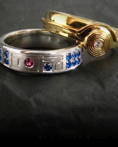 We've seen a lot of cool Star Wars themed rings over the years, a few of which you can check out here, here, and here. But this is a perfect pair of rings for the perfect pair of Star Wars fans looking to share the rest of their lives with each other. The