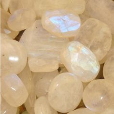 """Moonstone ~ """"Stone of Good Luck,"""" brings good fortune during your travels and it also helps balance your energy, rejuvenating your life. It enhances your intuition, creativity, and self-expression while you explore the great adventures that lie ahead. Minerals And Gemstones, Crystals Minerals, Rocks And Minerals, Stones And Crystals, Mineral Stone, Crystal Grid, Healing Stones, Healing Crystals, Rocks And Gems"""