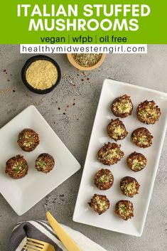 A healthy plant-based/vegan stuffed mushroom appetizer with tasty Parmesan cheese and Italian sausage flavors. Tapas Recipes, Vegan Dinner Recipes, Whole Food Recipes, Vegan Dinners, Baking Recipes, Vegan Party Food, Vegan Food, Vegan Finger Foods, Vegan Stuffed Mushrooms