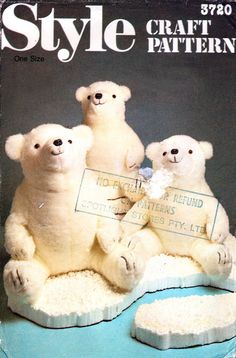 Style 3720 Polar Bear Family Soft, Plush Toys, Uncut, Factory Folded, Sewing Pattern Various Sizes Polar Bear, Teddy Bear, Book Costumes, 80s Style, Stuffed Toys, 80s Fashion, Sewing Patterns, Plush, Books