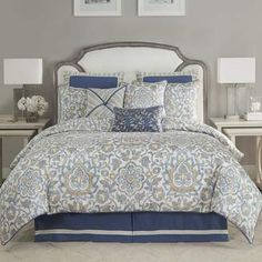 Croscill Janine Comforter Set. Blue bedding sets. A collection and choice to scroll through. #bluebeddingsets #bluecomfortersets #shopstyle #funkthishouse #afflnk