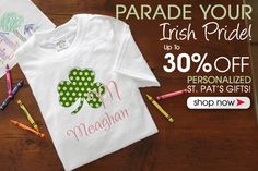 PersonalizationMall has all of their Personalized St. Patrick's Day Gifts on sale now for up to 30% off! They have a ton of cute kids' apparel designs that are adorable! #StPats #Irish #Shamrock