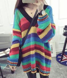 New 2016 Fall Winter Fashion Women's Rainbow Stripes Loose Long Sweater Pullovers European Autumn Striped Oversize Jersey Jumper