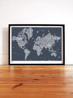 world type map in sheer slate - decorative screen print.  love this for the office!
