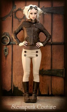 Steampunk Couture beige skinny fit military stretch jodhpurs via Etsy.cute look. Steampunk Cosplay, Chat Steampunk, Moda Steampunk, Style Steampunk, Gothic Steampunk, Steampunk Clothing, Steampunk Pants, Steampunk Hair, Casual Steampunk