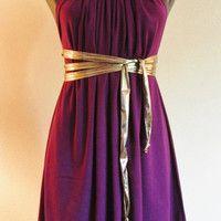 Short Cotton Jersey Knit Plum Colored SACK Dress