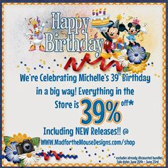 Mad for the Mouse: Have you heard? 39th Birthday, Happy Birthday, Birthday Cake, Disney Magical Express, Digital Scrapbooking Freebies, Birthday Celebration, Mad, Celebrities, Creative