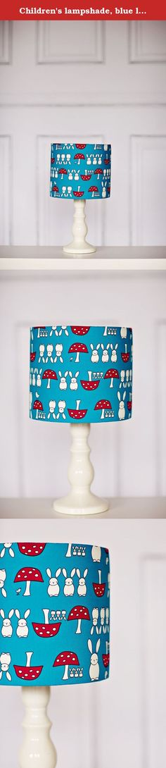 Childrenu0027s lampshade, blue lampshade, red lampshade, rabbit nursery, blue  nursery, nursery