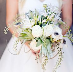 white and green bouquet with anemones