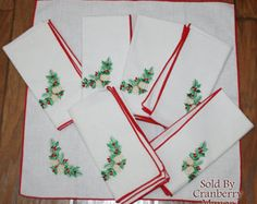 Vintage Christmas Holly & Acorn Napkin in White or Red Mix and Match LN001 LN003