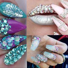 Swarovski Nails, Crystal Nails, Rhinestone Nails, Bling Nails, Swag Nails, Short Nail Designs, Simple Nail Designs, Ghetto Nails, Nail Salon Decor