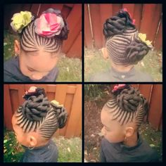 Braids and buns! Love the flower accessories!