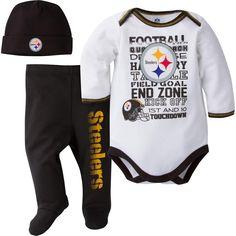 This comfy little outfit will score big with your baby Steelers fan! The long sleeved Steelers bodysuit is 100% cotton and features screen-printed logos and football terms across the front. It comes with a coordinating cap and footed pants with the team name proudly displayed on the pant leg.