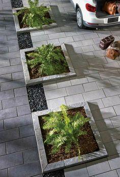 Front Garden Ideas Driveway, Driveway Design, Driveway Landscaping, Modern Landscaping, Outdoor Landscaping, Outdoor Gardens, Landscaping Tips, Back Garden Design, Landscaping Supplies