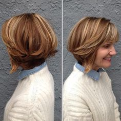 Layered+Bob+With+Highlights+For+Thick+Hair