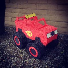 Blaze inspired monster truck pinata! Birthday Pinata, Cars Birthday Parties, Third Birthday, Boy Birthday, Blaze Cakes, Blaze And The Monster Machines Party, Toy Story Andy, Monster Truck Party, Disney Sleeping Beauty