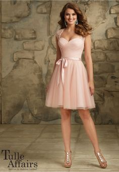 Bridesmaids Dresses - Tulle Affairs Lace and Tulle Satin Tie Sash. Zipper Back. Showin in Black. Available in all Tulle Colors.