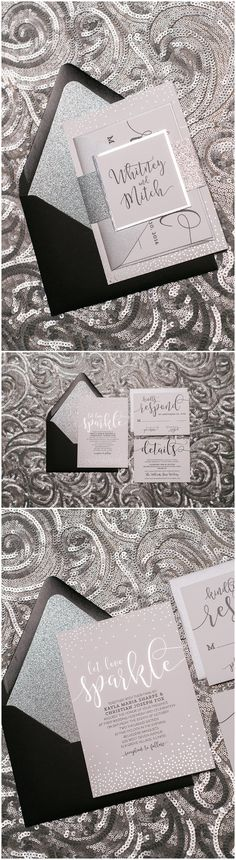 Sparkle, Foil, Silver, Black, Digital, Glitter, New Year's Eve, Black Tie, Wedding Invitations