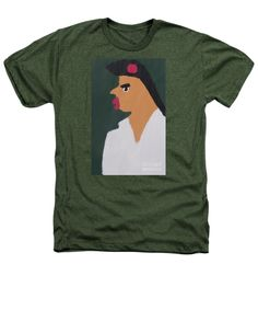Patrick Francis Military Green Designer Heathers T-Shirt featuring the painting Portrait Of A Woman With Red Ribbon 2014 - After Vincent Van Gogh by Patrick Francis