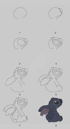 40 Easy Step By Step Art Drawings To Practice - Lilo and stitch drawing instructions step by step - Drawing Techniques, Drawing Tutorials, Drawing Tips, Art Tutorials, Drawing Sketches, Drawing Ideas, Drawing Drawing, Illustration Techniques, Drawing Practice