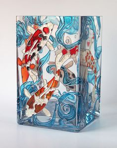 art inside — Hand painted glass vase — Koi fish