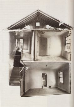 Gordon Matta-Clark, Splitting, 1974. Black and white photo collage,   101.5 x 76.2 cm