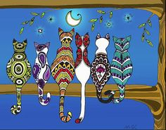 """Pop Art Zentangle Cats Lovers Moon Color"""" Posters by wildwildwest . Pop Art Drawing, Cat Drawing, Frida Art, Cat Quilt, Happy Paintings, Whimsical Art, Animal Paintings, Doodle Art, Cat Art"""