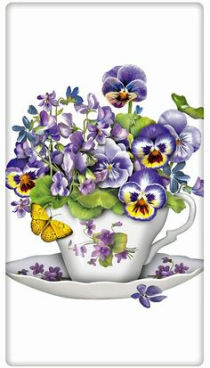 The true workhorse of any kitchen; the flour sack dish towel. Designed by Mary Lake Thompson, featuring a viola filled tea cup! Tea Cup Art, Tea Cups, Vintage Cards, Vintage Images, Tee Kunst, Petunia, Illustration Blume, Art Floral, Pansies