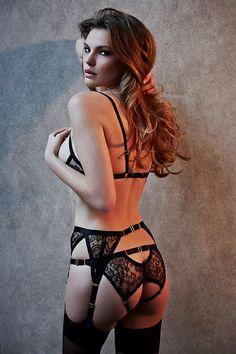 Something Wicked AW2014 - 'Annabelle' Harness Bra, Ouvert briefs & Suspender ~ Model: Ksenija Selivanova