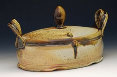 Wood Fired Oblong Lidded Casserole by claybully on Etsy