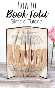 How to Book Fold - Simple book folding tutorial, learn how to make book words for diy gifts and handmade home decor. This book art craft is surprisingly easy and will only take a few hours! Book Page Crafts, Book Page Art, Book Folding Tutorial, Diy Arts And Crafts, Easy Crafts, Geek Crafts, Book Works, Recycled Books, Recycled Clothing