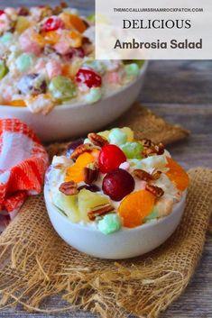 Ambrosia Salad - salad - HoMe Beer Recipes, Fruit Recipes, Dessert Recipes, Summer Recipes, Fall Recipes, Breakfast Recipes, Gluten Free Desserts, Fun Desserts, Delicious Desserts
