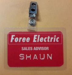 Shaun of The Dead ID Badge Foree Electric Sales Advisor Shaun Prop Cosplay Zombie Apocalypse Kit, Name Badges, Id Badge, Electric, Cosplay, Halloween Costumes, Ebay, Badges, Name Labels