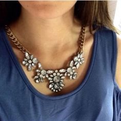 Crystal Floral Gold Toned Statement Necklace Clear