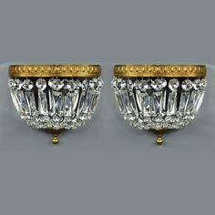 Pair Brass Crystal Wall Sconces Vintage Antique Gold Ornate Italian Lights | eBay