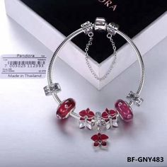 Great deal : Authentic pandora...order today get price off here!http://www.charmsilvers.com/products/authentic-pandora-charm-bracelet-with-red-flower-theme-7pcs-charms?utm_campaign=social_autopilot&utm_source=pin&utm_medium=pin