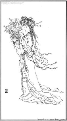 白描 神仙 麻姑 Flower Coloring Pages, Free Coloring Pages, Coloring Books, Disney Drawings, Art Drawings, Geisha Tattoo Design, Japanese Painting, Japan Art, Chinese Art