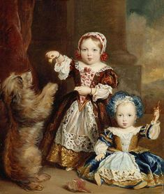 """The 1st & 2nd Children of Queen Victoria (Alexandrina Victoria) (1819-1901) UK & Prince Albert (1819-1861) Saxe-Coburg & Gotha, Germany: The Princess Victoria Adelaide (1840-1901) UK feeding dog & young brother Albert Edward """"Bertie"""" (Edward VII) (1841-1910) Prince of Wales, UK by Thomas Musgrove Joy in 1843. The Queen disliked him because of his low IQ & often withheld any affection. His father Albert begged Victoria to show Bertie love but she could not. When Albert died it became worse."""