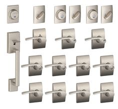 Buy the Schlage F600CEN619MERRH Satin Nickel Direct. Shop for the Schlage F600CEN619MERRH Satin Nickel Century Complete House Door Hardware Package with Merano Interior Levers and Right Handed Exterior Front Door Handleset and save.